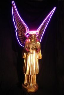 Golden Angel with Purple Neon Halo.